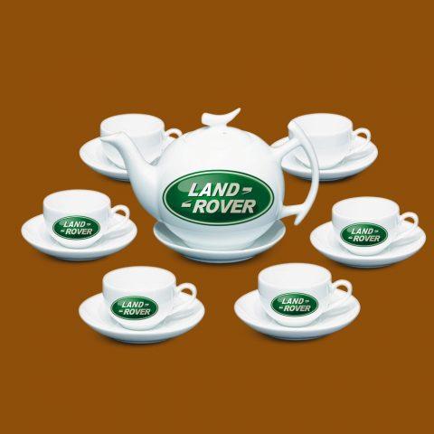 Bộ ấm trà Bát Tràng quà tặng in logo Landrover
