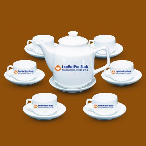 Bộ ấm trà Bát Tràng quà tặng in logo LienVietPostBank