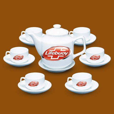 Bộ ấm trà Bát Tràng quà tặng in logo Lifebuoy