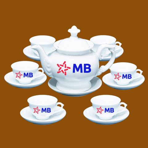 Bộ ấm trà Bát Tràng quà tặng in logo MB Bank