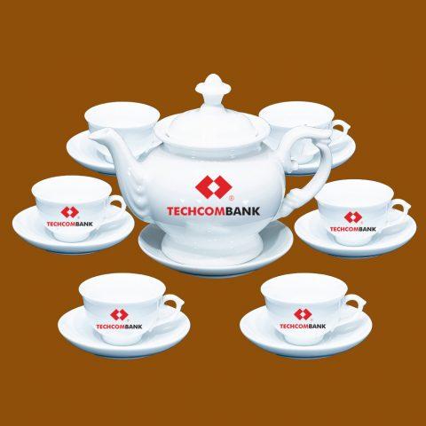 Bộ ấm trà Bát Tràng quà tặng in logo Techcombank