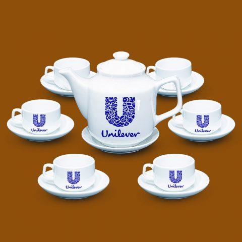 Bộ ấm trà Bát Tràng quà tặng in logo Unilever