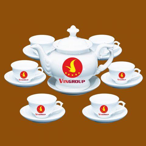 Bộ ấm trà Bát Tràng quà tặng Vingroup