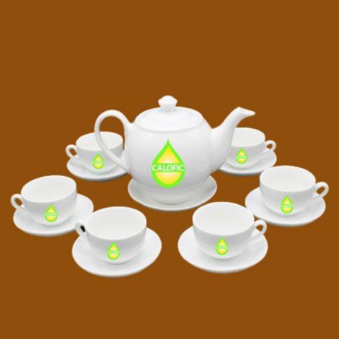 Bộ ấm trà trắng Bát Tràng quà tặng in logo Calofic