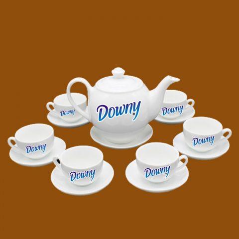Bộ ấm trà trắng Bát Tràng quà tặng in logo Downy