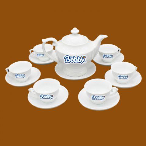 Bộ ấm trà trắng quà tặng in logo Bobby