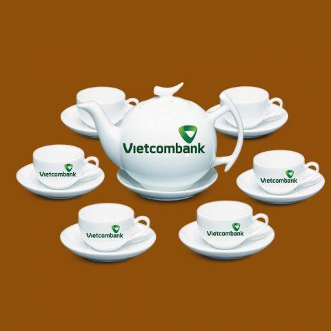 Bộ ấm trà trắng quà tặng in logo Vietcombank