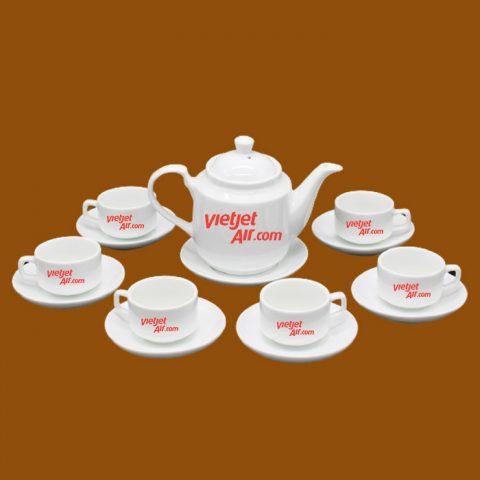 Bộ ấm trà trắng quà tặng in logo Vietjet Air