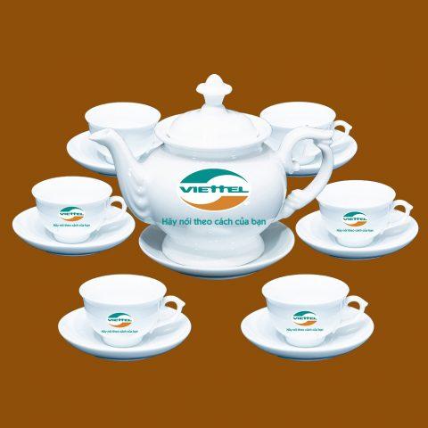Bộ ấm trà trắng quà tặng in logo Viettel
