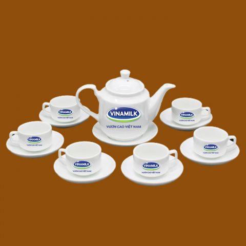 Bộ ấm trà trắng quà tặng in logo Vinamilk
