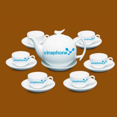Bộ ấm trà trắng quà tặng in logo VinaPhone