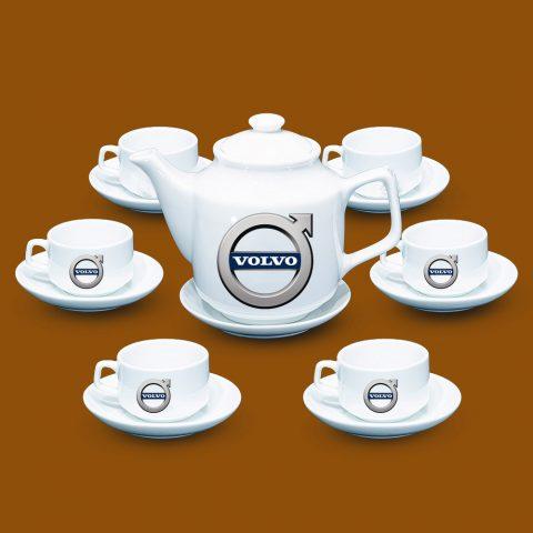 Bộ ấm trà trắng quà tặng in logo Volvo