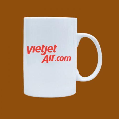 Ly sứ trắng in logo doanh nghiệp VietJet
