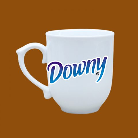 Ly sứ trắng in logo Downy