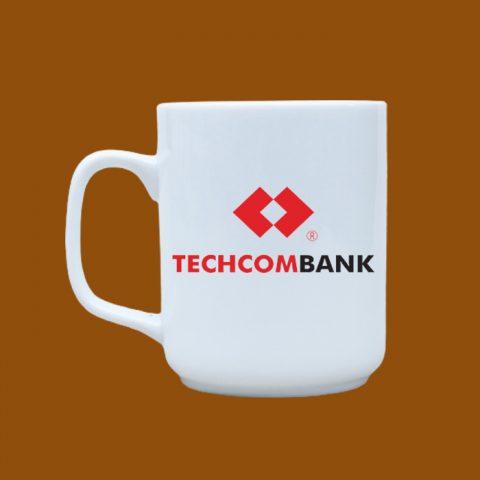 Ly sứ trắng in logo Techcombank