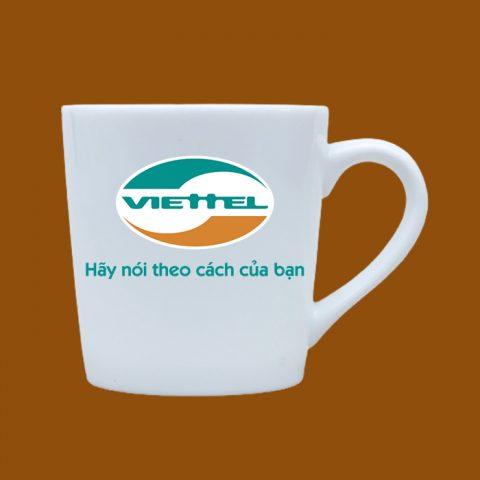 Ly sứ trắng in logo Viettel