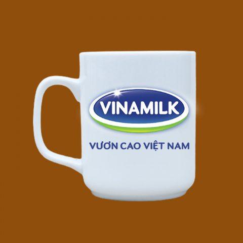 Ly sứ trắng in logo Vinamilk