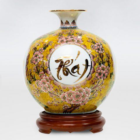 Bình hút lộc tứ cảnh Phát Tài Phát Lộc vẽ vàng 24K cao 30; 35cm