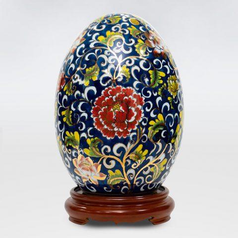 Trứng hút lộc tích Hoa Khai Phú Quý vẽ vàng 4K cao 40cm Bát Tràng