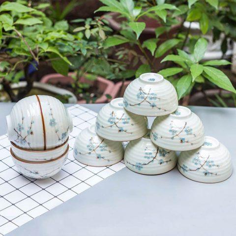 Bộ 10 bát ăn cơm Bát Tràng men kem vẽ đào xanh kẻ chỉ nâu