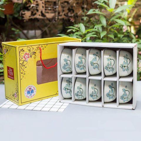 Bộ 10 bát ăn cơm Bát Tràng men kem vẽ hoa sen xanh kèm hộp