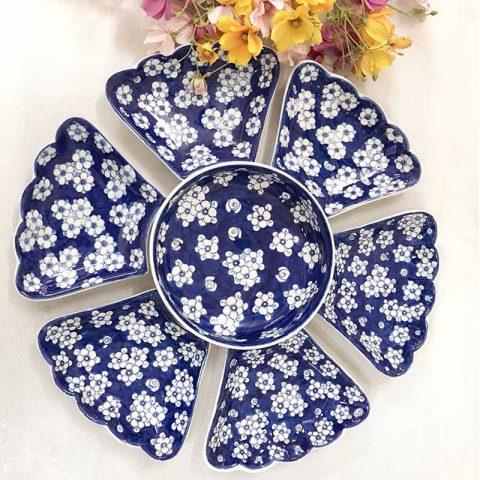 Bộ bát đĩa Bát Tràng mặt trời đi băng xanh ngàn hoa mai