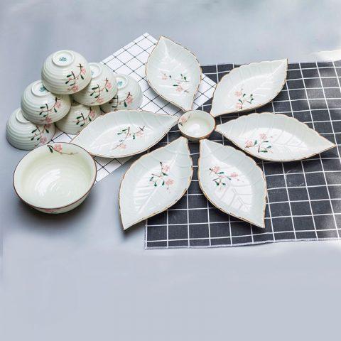 Bộ bát đĩa Bát Tràng men kem đào hồng 14 chi tiết