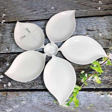 Bộ đĩa Bát Tràng men trắng lá xoài 5 cánh