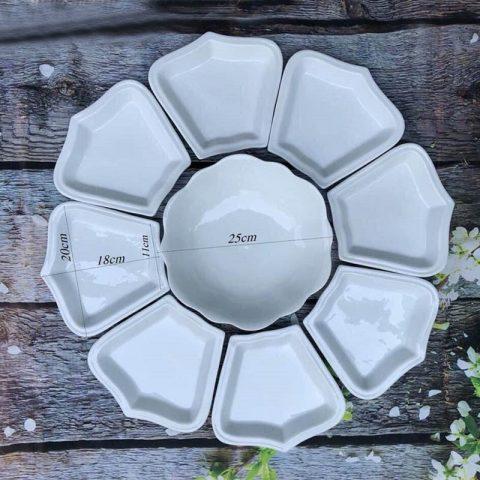 Bộ đĩa cánh hoa mặt trời men trắng trơn 9 chi tiết