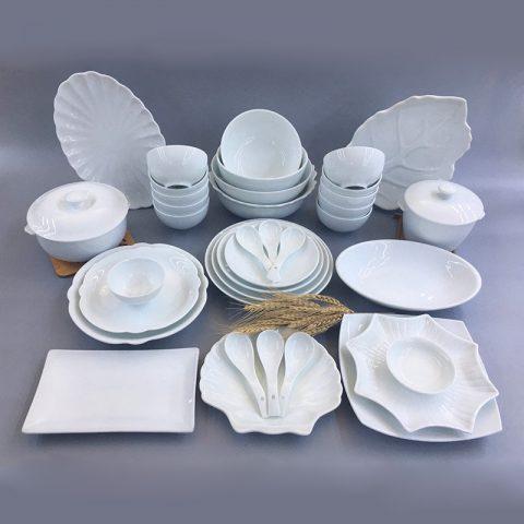 Bộ đồ ăn men trắng Bát Tràng mẫu số 05