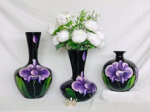 Bộ lọ hoa sơn mài Bát Tràng vẽ hoa lan tím