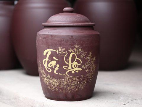 Hũ sành đựng gạo tài lộc Bát Tràng chứa 35 kg gạo hàng không tráng men
