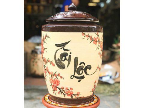 Hũ sứ đựng gạo tài lộc Bát Tràng vẽ hoa đào chứa 25 kg gạo