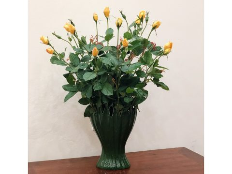 Lọ cắm hoa bàn tay phật men bộ đội cao 28cm