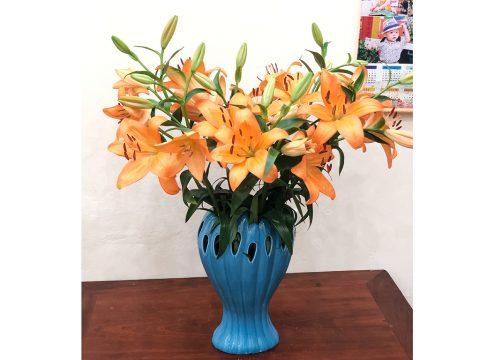 Lọ cắm hoa bàn tay phật men xanh thiên thanh cao 35cm