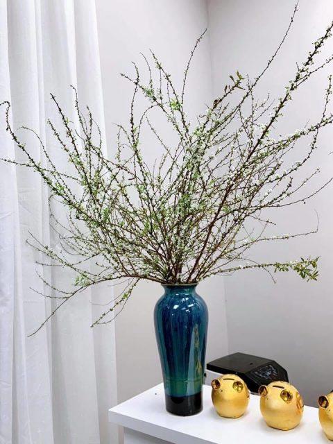 Lọ hoa Bát Tràng men hỏa biến xanh dáng đùi dế