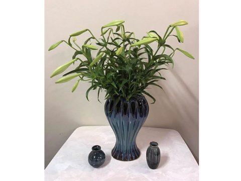 Lọ hoa Bát Tràng men hỏa biến xanh lục cao 35cm