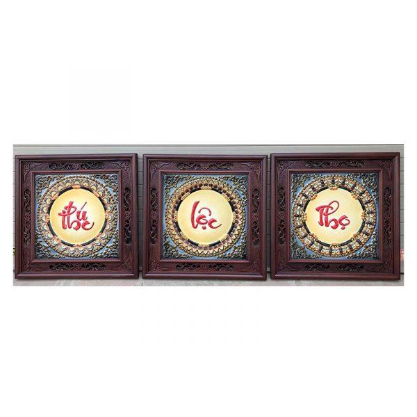 Tranh chữ sứ Phúc Lộc Thọ khung gỗ gụ kích thước 50×50 cm