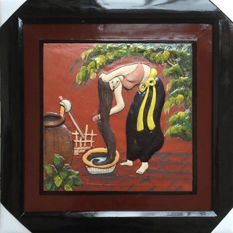 Tranh gốm vẽ thiếu nữ kích thước 50x50cm