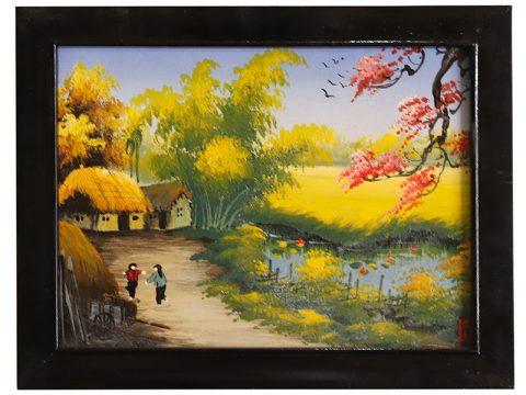 Tranh sứ Bát Tràng vẽ cảnh đồng quê mẫu 5 kích thước 25x30cm