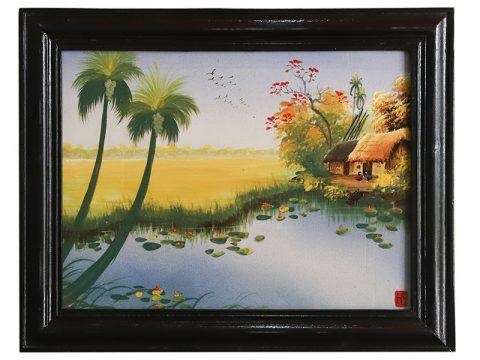 Tranh sứ Bát Tràng vẽ cảnh đồng quê mẫu 6 kích thước 25x30cm