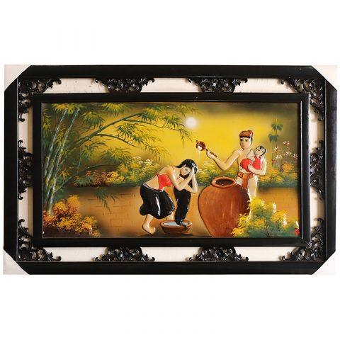 Tranh sứ Bát Tràng vẽ cảnh gia đình hạnh phúc kích thước 95x55cm