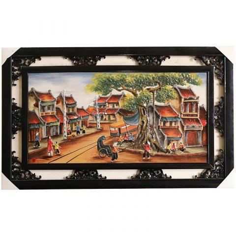 Tranh sứ Bát Tràng vẽ cảnh phố cổ Hà Nội kích thước 95x55cm