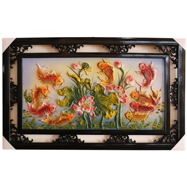 Tranh sứ Bát Tràng vẽ cửu ngư đồ cá chép hoa sen kích thước 95x55cm