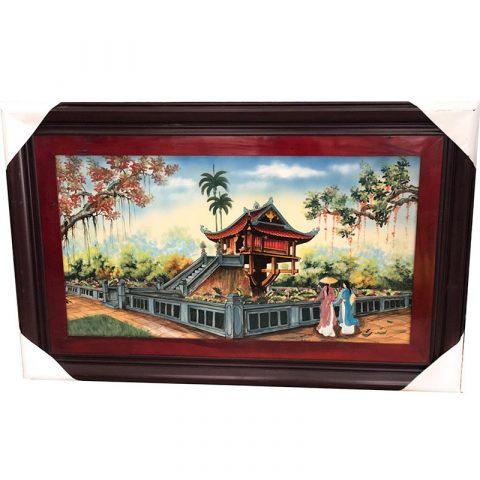 Tranh sứ vẽ phong cảnh chùa một cột Hà Nội kích thước 135x88cm
