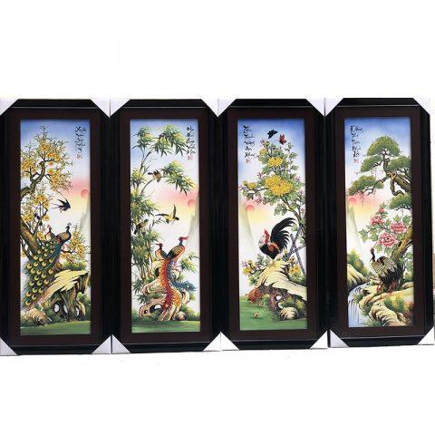 Tranh tứ quý Bát Tràng men màu trơn Tùng Cúc Trúc Mai vẽ kỹ kích thước120x55cm