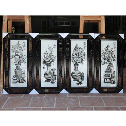 Tranh tứ quý men đen trắng đắp nổi cổ đồ kích thước 87x43cm