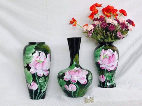 Bộ 3 lọ hoa sơn mài decor vẽ hoa sen hồng Bát Tràng