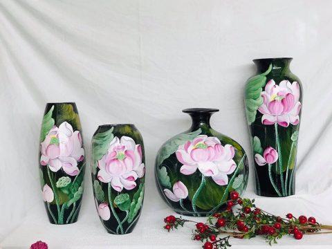 Bộ lọ hoa sơn mài decor vẽ hoa sen hồng Bát Tràng