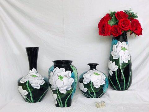 Bộ lọ hoa sơn mài decor vẽ hoa sen trắng Bát Tràng
